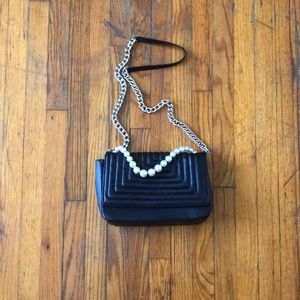 Genuine Leather Zara Purse Black Quilted & Pearls